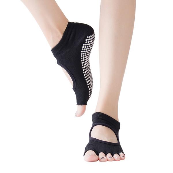 5 Adet Pamuk Yoga Spor Çorap Kazmak Delik Sakız Beş Parmak terlik Terlik Spor Çorap Bayanlar Kayma Geri Dans Toes Kadınlar