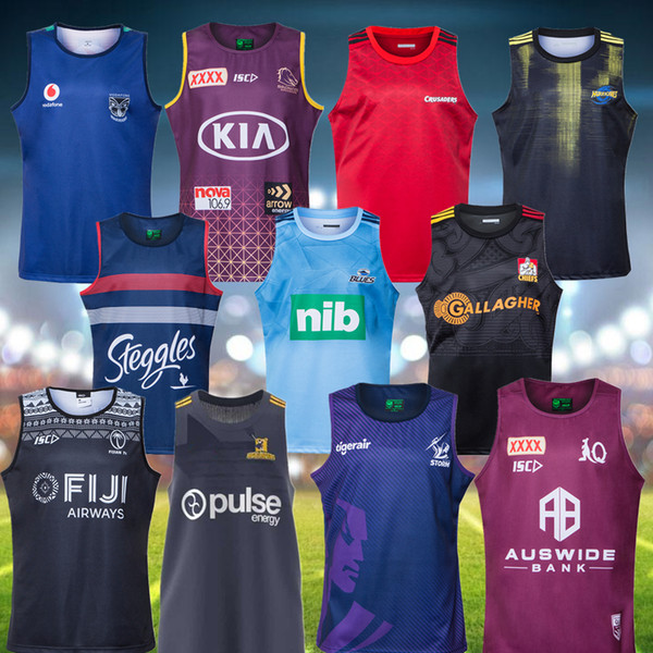 best selling 2020 Rugby Vest Australia Melbourne Blues Highlanders Crusaders Rugby Jerseys Brisbane Broncos Sydney Roosters Super Rugby League Jersey