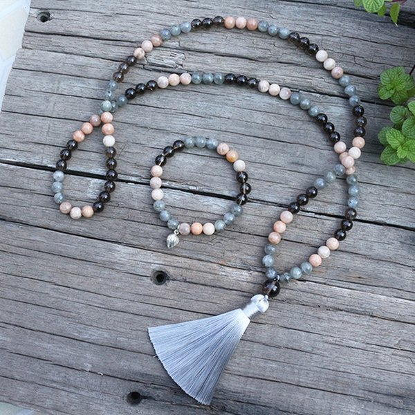 8mm natural stone beads, sunstone, labradorite, change, japamala sets,spiritual jewelry,meditation,inspirational, 108 mala beads