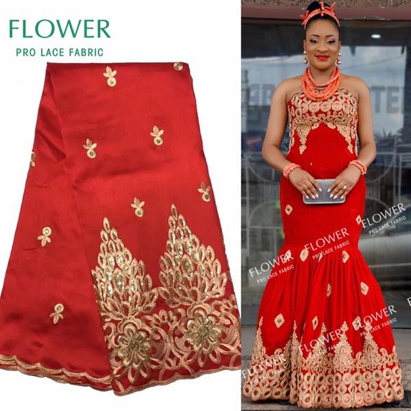 African George Lace Indian Design rosso per abito da sposa nigeriano Tissu paillettes linea oro tessuti ricamati in pizzo guipure