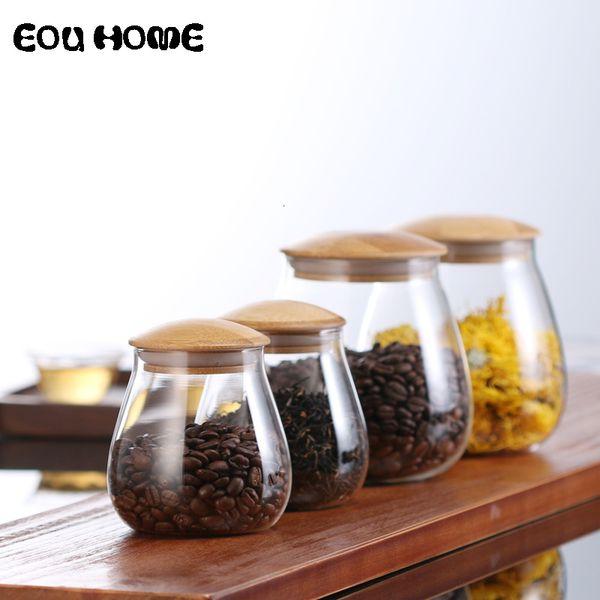 Cuisine champignons Forme verre Flacons en bocaux Divers Grains boîtes scellées nourriture Jars stockage grains de café de feuilles de thé Jars SH190925