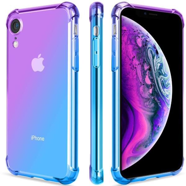 Для iPhone XS Max 8 Plus XR 11 Ясный Цвет Градиента Чехол Anti Scratch TPU Чехлы для Телефона Крышка Армированные Уголки Противоударный Защитный Чехол