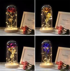 LED Forever Rose Glass 4 Colors 24k Gold Plated Wooden Base Rose Flower Led Light Glass Dome Valentine's Day Novelty Items OOA6125