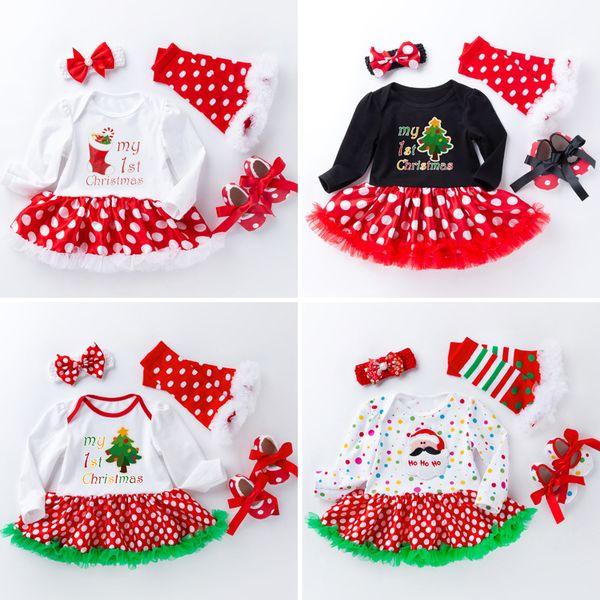 Crianças Roupas de outono inverno Natal bebê terno de manga comprida vestido de princesa meu primeiro natal impressão bebê vestido de Natal atacado