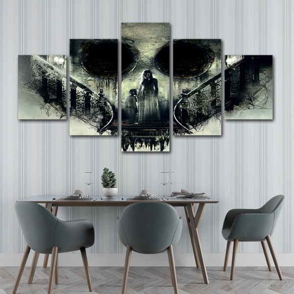 5 Piece canvas painting Horor Skull Goast Mother and child wall art Home Decoration For Living Room HD Prints poster