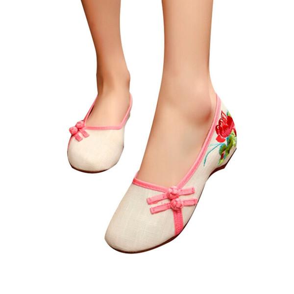 Designer Dress Shoes Vintage Women Spring Beautiful Folk Embroidery Ballet Comfort Soft Canvas For Woman Old Peking Low Heel