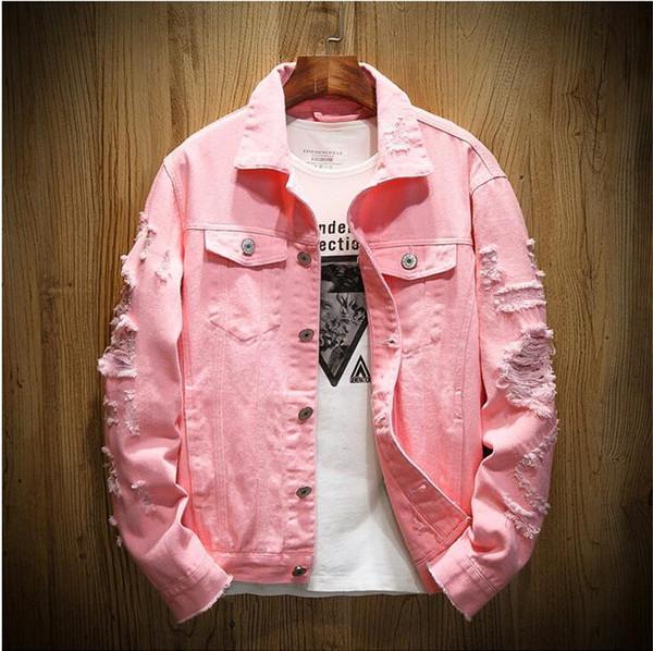 Yeni Moda Avrupa Tasarımcı Denim Ceket Erkekler Delik Yırtık hip hop ceket kadınlar Pembe Jean Ceketler Yeni Marka Konfeksiyon Yıkanmış Mens Denim Chaqueta