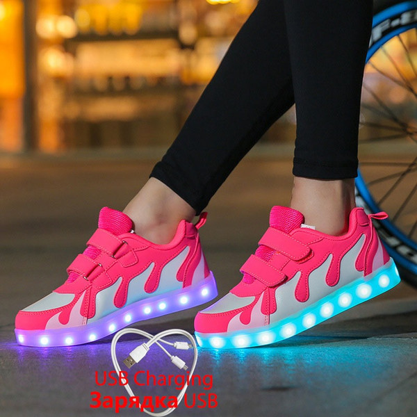 2019 Tenis Led Shoes Glowing Sneakers for Boys and Girls Light Up dance party Shoes for Kids Led Luminous Shoes 28-40 tenis infantil