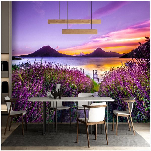 Compre Frente Al Lago Paisaje 3d Foto Wallpaper Naturaleza Púrpura Romántico Lavanda Dreamy Pastoral Paisaje Mural 3d Papeles De Pared Decoración Para
