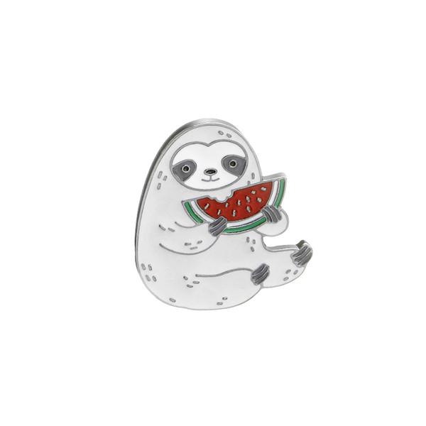2019 neueste Pin Tier-förmigen Faultier isst Wassermelone Brosche Nette Persönlichkeit Brosche Trend Brosche Urlaub Geburtstagsgeschenk