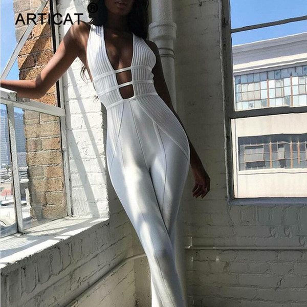 Articat Cotton Sexy Hollow Out Bodycon Jumpsuit Women Sleeveless Backless Skinny Rompers Womens Jumpsuit Summer Party Playsuit MX190726