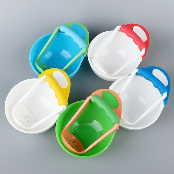 Baby Kids Two-piece Grinding Bowls Learn Dishes Handmade Grinding Tool Fruit Supplement Infant Mills
