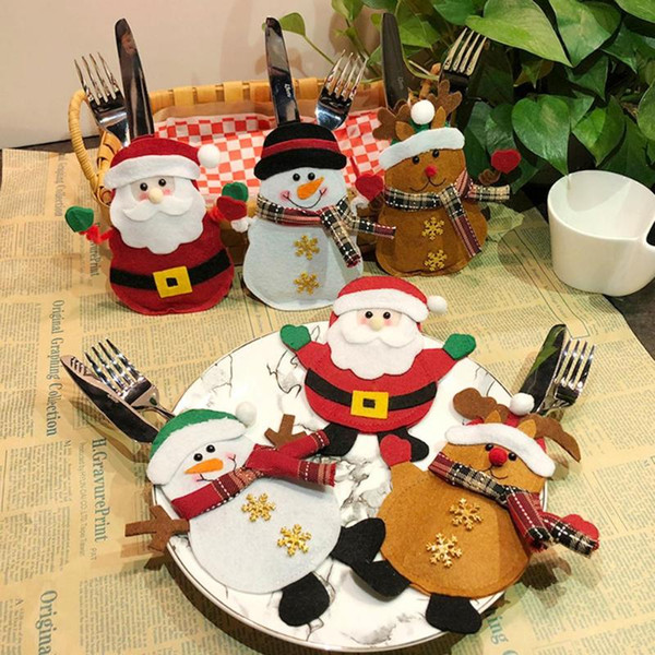 Christmas Cutlery Pocket Kitchen Dinner Table Knife Fork Bag Seiko Handicraft Processing Manufacturing Party Xmas Decor
