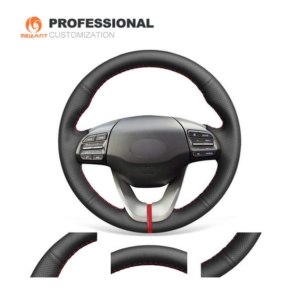 MEWANT Hand-stitched Durable Stitching Black Genuine Leather Car Steering Wheel Cover for Hyundai Veloster 2019