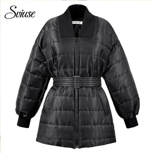 Invierno Mujer Cinturón De Con Compre Para Acolchada Chaqueta Negra xvzTH4