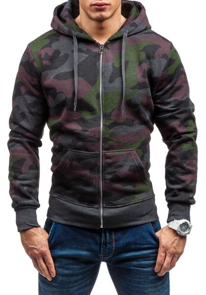 Sweat-shirt à manches longues hommes camouflage Sweats à capuche Sweat Zipper Blanc Big Taille