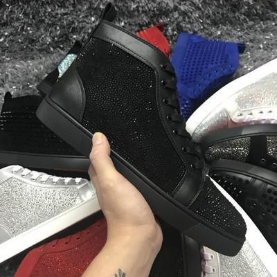 Wholesale Famous Designer Brand For Men Gold Silver Rhinestone Red Bottom Sneakers Lovers Genuine Leather High Top Casual Flats Shoes m601