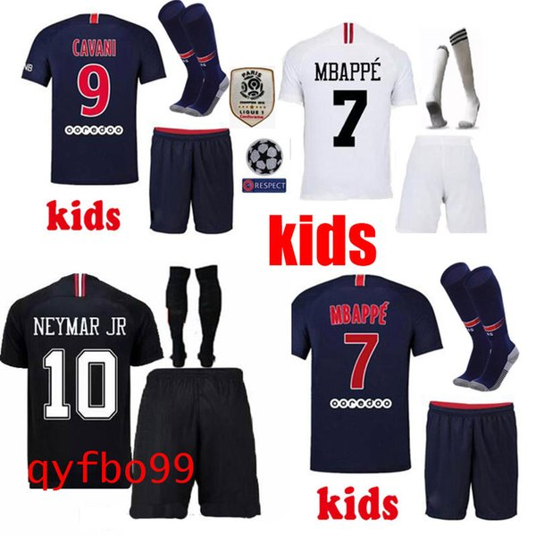 18 19 Paris kids soccer jerseys home mbappe maillot de foot 2019 psg CAVANI DI MARIA BUFFON survetement child youth football uniforms SETS