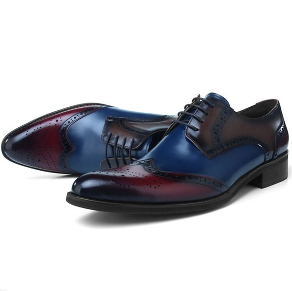 Fashion Brogues Prom Shoes Mens Dress Shoes Genuine Leather Oxfords Business Male Formal Wedding Groom #7763