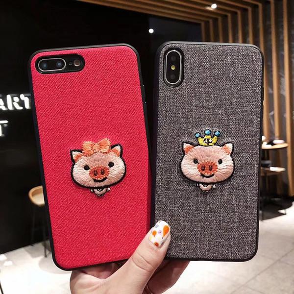 Toptan Işlemeli güzel domuz cep telefonu kılıfı için iphone xsmax yaratıcı erik S8 S10 NOTE9 kişilik her şey dahil koruyucu kapak