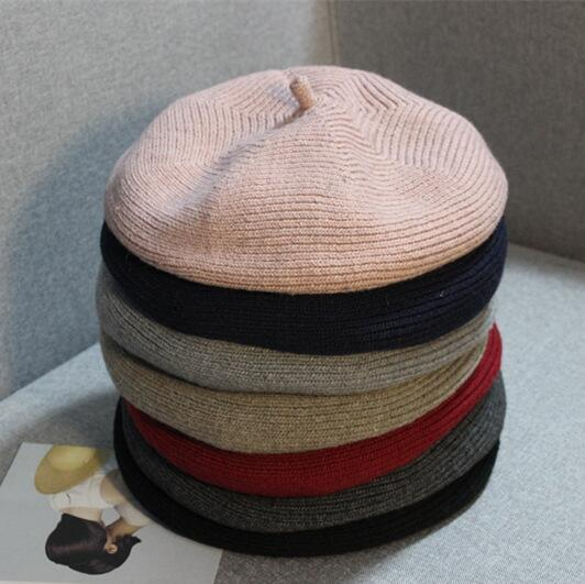 7 Color Women Beret Winter Warm Beanie Japanese Style Thread Knitted Hat Solid Caps Stretchy Flat Hat Stylish Trilby Outdoor Hats