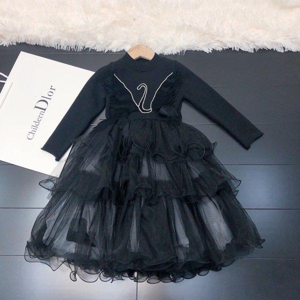 meninas vestidos roupas de grife 2019 novas asas tridimensionais de Crianças cisne hem vestido de princesa costura partido malha meninas malha vestido