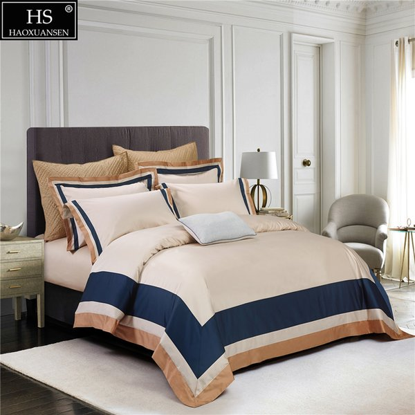 100S Egyptian Cotton Beige Light brown Blue Luxury Royal Bedding Set 4Pcs King Queen Bed Sheet Set Duvet cover Pillow shams