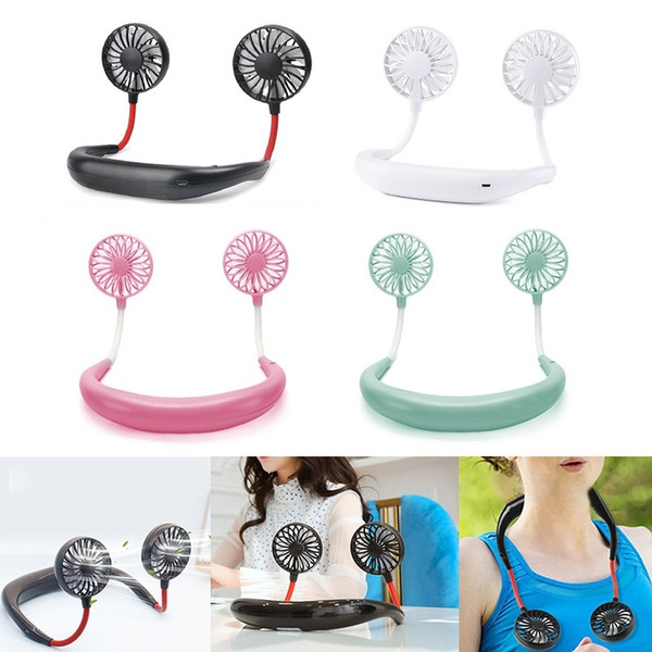 Portable Fans Hand Free Neckband Fans With USB Rechargeable 1200 mA Battery Operated Dual Wind Head 3 Speed Adjustable Fan