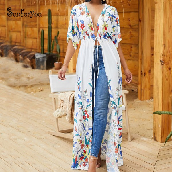 Cotton Beach Cover up 2019 Robe Plage Plus size Long Beach Tunic Swimsuit Cover up Kimono Trajes de baño Trajes de baño