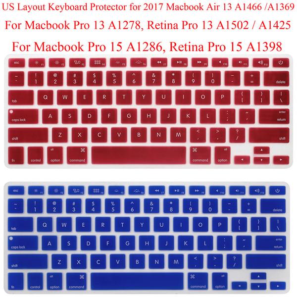 US Clavier Protector pour 2017 Macbook Retina 13.3 Silicone Clavier Garde Couverture MacbookPro 15.4 Pro 15 Peau De Protection