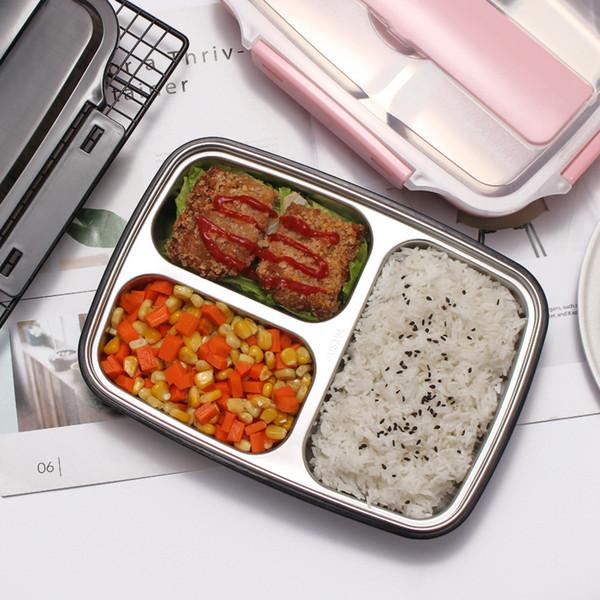 Contenitore per il pranzo in acciaio inox 3 scomparti Contenitore per alimenti in metallo con isolamento termico Contenitore per alimenti in metallo perfetto per la scuola e l'ufficio 1100ml