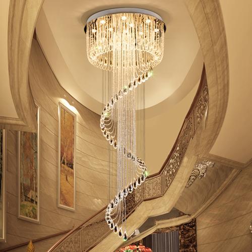 Lámparas de techo de cristal de gama alta K9 forma de giro de cristal lámpara de iluminación led moderna lámparas colgantes para escaleras dúplex villa hotel hall