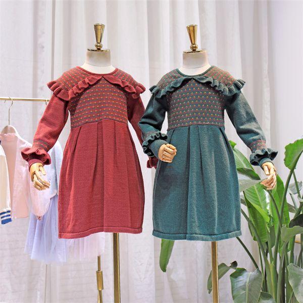 Sonbahar kızlar elbiseler çocuklar çiçek örme kazak prenses elbise çocuk falbala yaka flare kol pileli elbise kırmızı yeşil F10074