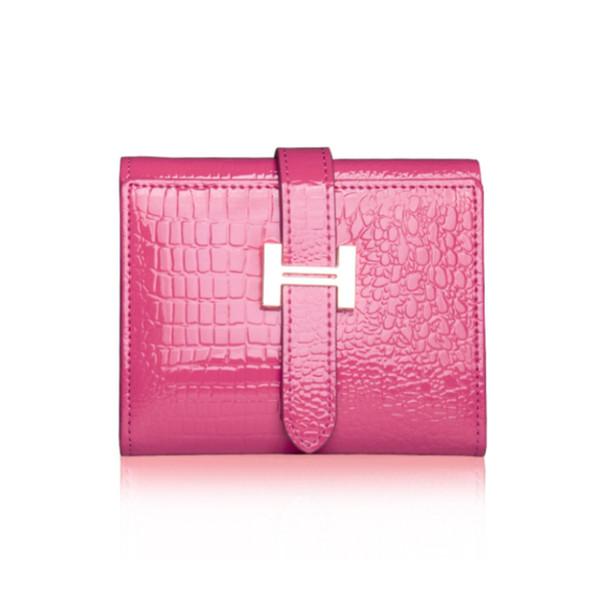 Cartera de las mujeres de cuero genuino titular de la tarjeta corta monedero de las señoras carteras de cuero Mini cartera pequeña moda de alta calidad
