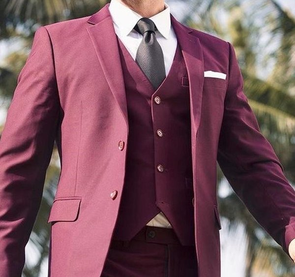 2019 Burgundy Wedding Men Suits Notched Lapel Casual Style Blazer Three Piece Jacket Pants Vest Tailored Made Male Suit