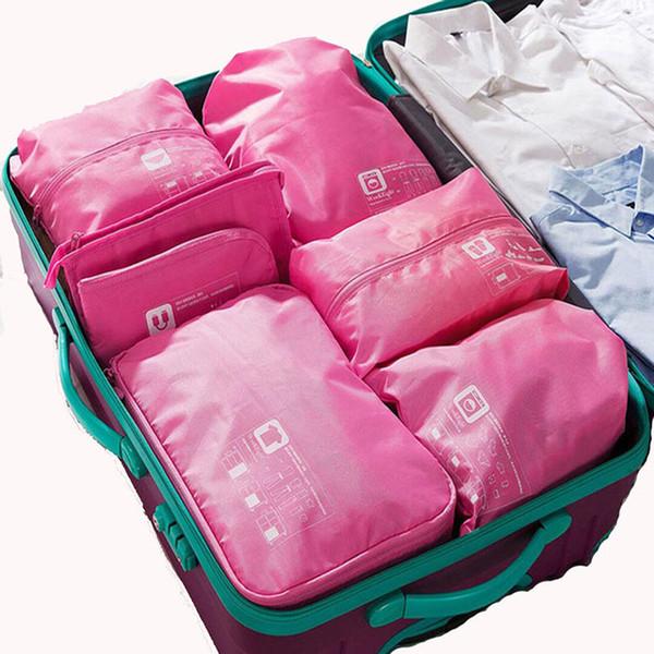 7PCS / Set Set borsa da viaggio Donna Uomo Pack Cubi Bagagli Organizer per abbigliamento Scarpa impermeabile Cube Abbigliamento portatile