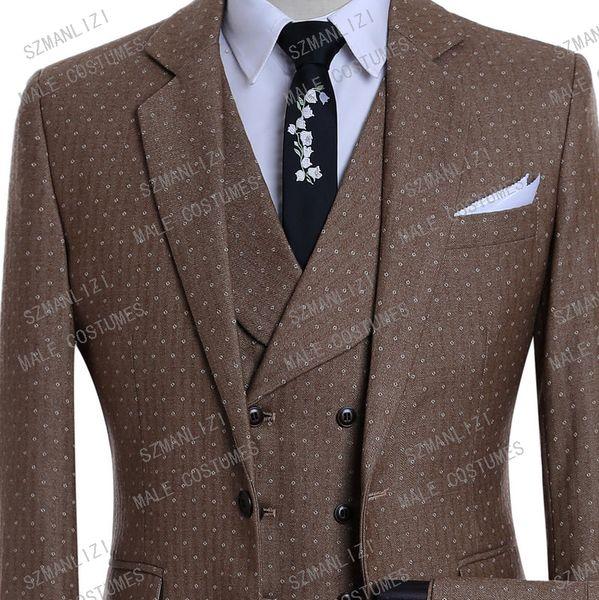 Mens Suits With Pants Wedding Suits For Men 2019 Brown Burgundy Blue Grey Dot Slim 3 Piece Men Formal Tuxedo Groom Suit