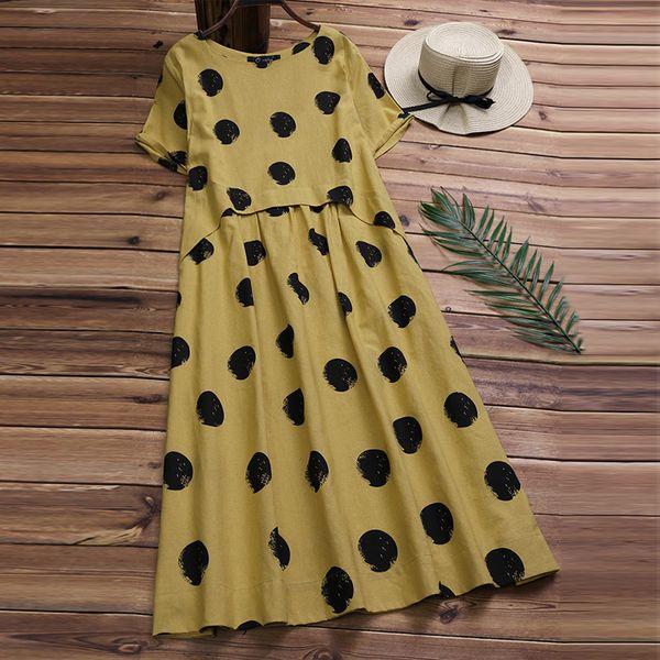 Vintage Women Linen Summer Dress 2019 Plus Size Female Pleated Beach Sundress Ladies Casual Print Polka Dot Long Vestidos Kaftan S19713