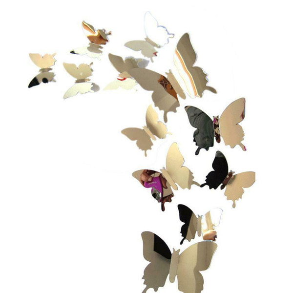 Mirror Pure Wall Stickers Decal Butterflies 3 D Mirror Wall for Art Home Decors Living Room Window Decoration MMA1927