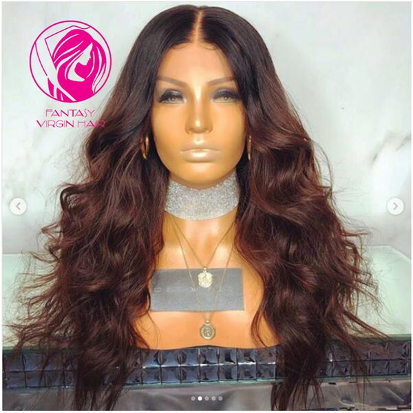 Fantasy Medium Length Ombre Brown Lace Front Human Hair Wigs Brazilian Remy Hair Pre Plucked 13*4 Front Lace Wig With Baby Hair