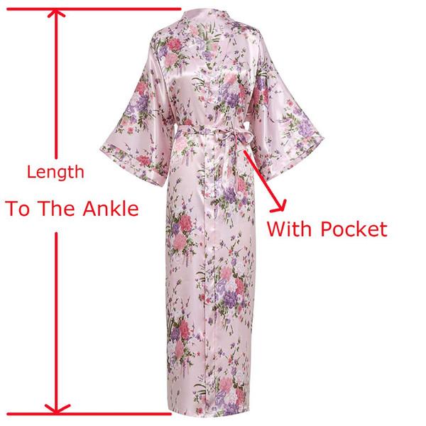 Artı Boyutu Yeni Baskı Çiçek Robe Kadınlar Uzun Gecelik Ev Elbise Gelin Gelinlik Düğün Elbiseler Bayan Saten Kimono Banyo kıyafeti