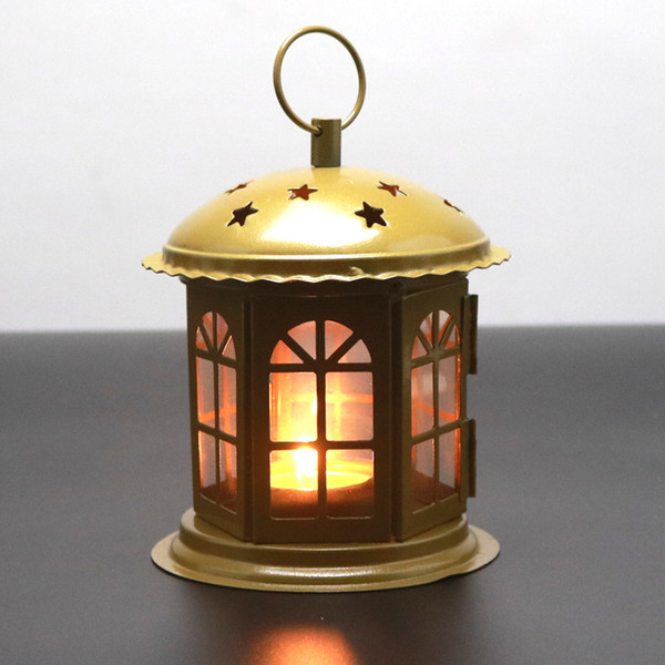 Retro Vintage Lamp Candlestick Creative European Home Decoration Desktop Craft Bronze Wrought Iron Metal Portable Candlestick Candle Holder