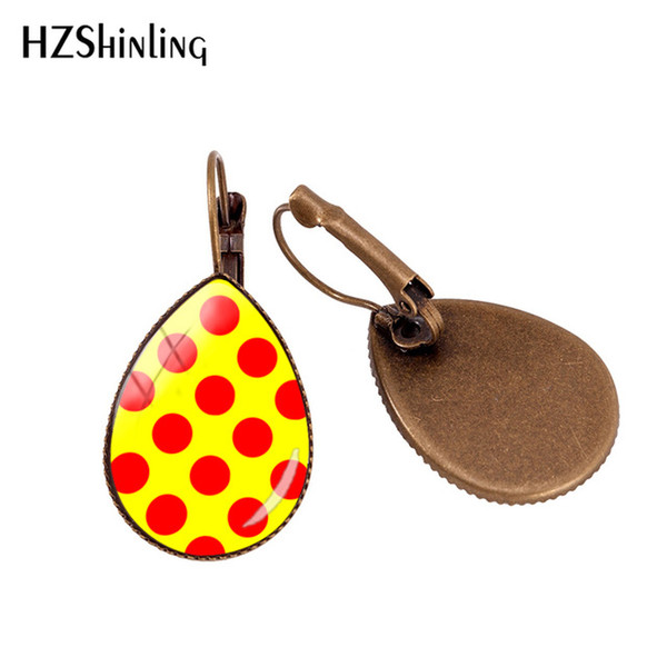 2019 New Red Polka Dot Ear Clip Colourful Polka Dots Orecchino Clips Bronzo Cupola di vetro gioielli