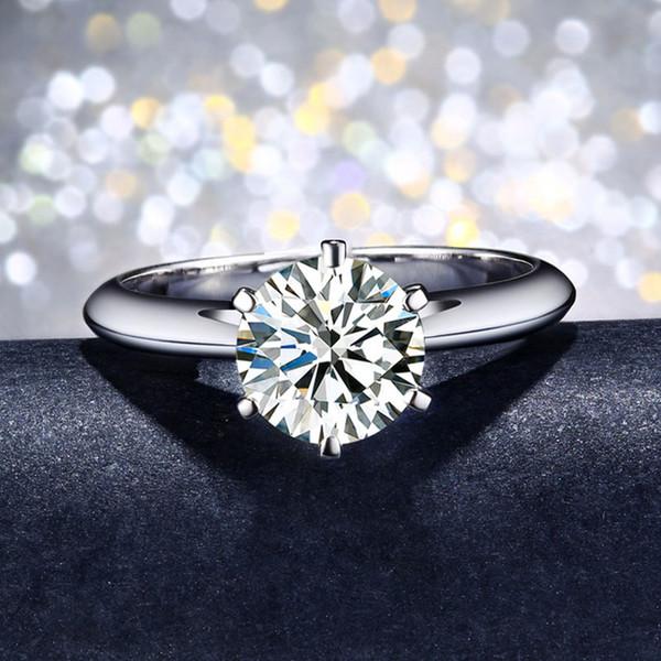 Lüks Gerçek 100% Katı 925 Ayar Gümüş Yüzük Seti 6mm Sona Kadınlar Için CZ Elmas Düğün Nişan Yüzükleri Takı Hediye XR017