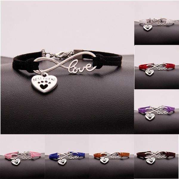 Vintage Silver LOVE Infinity Best friend Peach Heart Bracelet dog paw prints Bangle For Men Women Velvet Rope Cuff Bracelets Jewelry Gift