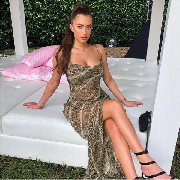 Mesh See-through Snakeskin Sexy Dresses Spaghetti Straps Split Sexy Backless Elegant Christmas Party Long Dress MX190727