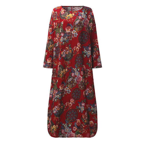 Vêtements Femmes Robes Automne Casual Loose Manches Longues Floral Robes Boho Style Coton Lin Long Maxi Dress Robe