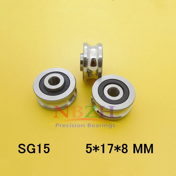 SG15-2RS U Groove pulley ball bearings 5*17*8*9.75 mm Track guide roller bearing SG15RS V17