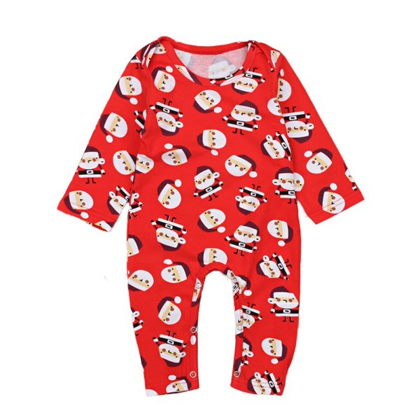 Autumn Winter Baby Christmas Santa Claus Print Romper Boys Girls Bodysuit Hoodie Jumpsuit Casual Outfits