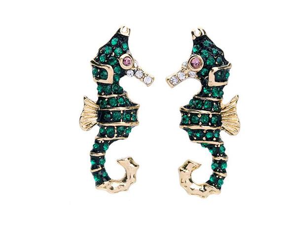 European and American Green Cartoon Lady Earrings Sea Horse Enamel Crystal Sweet Cute Stud Earrings E5512